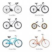 Постер, плакат: Set of the different vector bicycles road bike bmx mountain bike hybrid cruiser bike and Dutch
