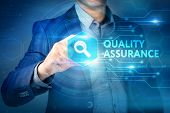 Business, Internet, Technology Concept.businessman Chooses Quality Assurance Button On A Touch Scree poster