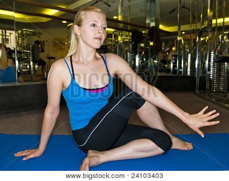stretching in a gym