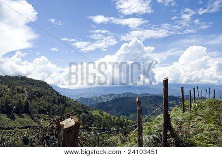 Zaun und Berge
