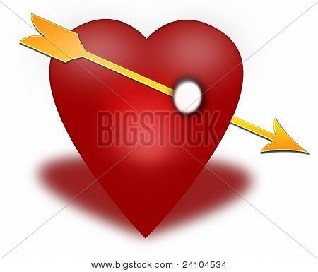 Red heart pierced by an arrow on a white background