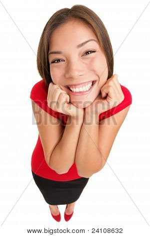Funny Cute Excited Woman Isolated