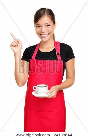 Waitress Pointing Holding Coffee