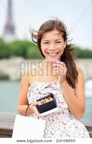 Paris Woman Eating Macaron