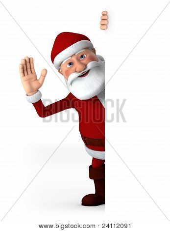 Santa Waving With Blank Sign