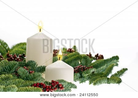 Two Candles In Advent Setting