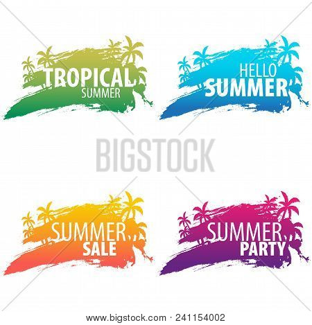poster of Summer Tropical Backgrounds Set With Palms And Sunset. Summer Placard Poster Flyer Invitation Card.