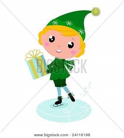 Cute Ice Skating Elf Boy With Big Gift..