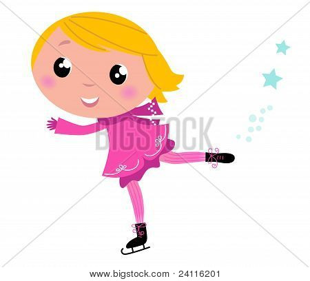 Cute Winter Ice Skating Girl Isolated On White..