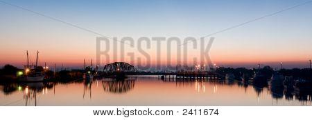 Harbor Panorama At Dawn