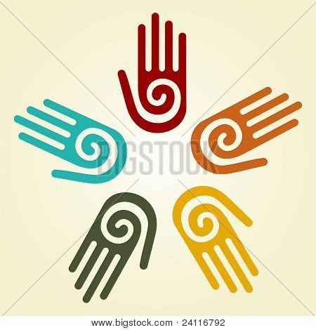 Hand With Spiral Symbol In A Circle