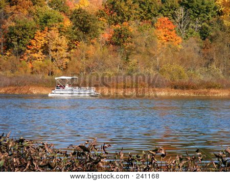 Pontoon Boat Across The Lake
