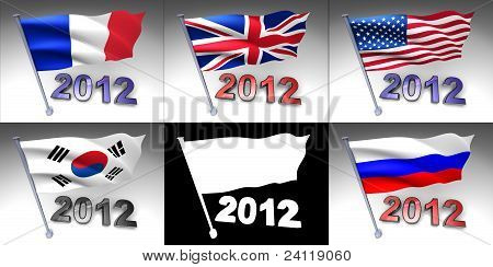Five Flags On A Pole With 2012 Design At Bottom