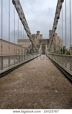 Bridge Heading To The Conwy Castle , Wales