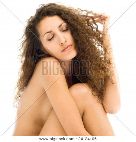 Beautiful Naked Woman In Sad Mood