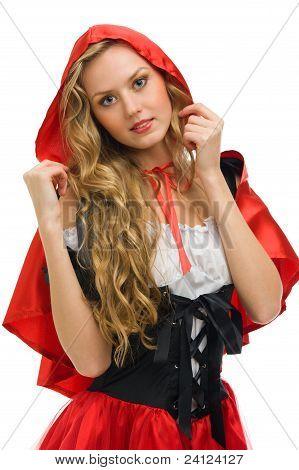 Mujer en traje de carnaval. Little Red Riding Hood forma