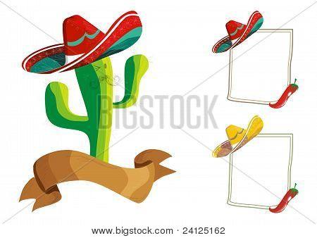 Conjunto de diseño de menú de comida mexicana