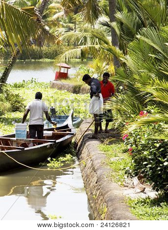 Daily Life Bartering Backwaters Kerala India