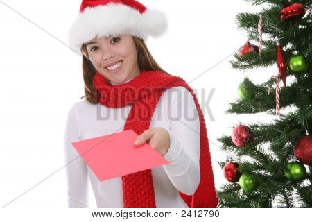 Woman Giving Christmas Card