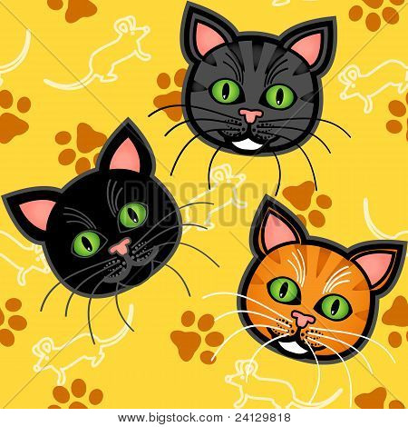 Seamless Cartoon Cat Pattern Over Yellow