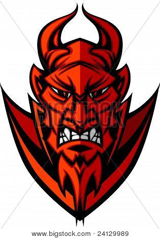 Demon Devil Mascot Head