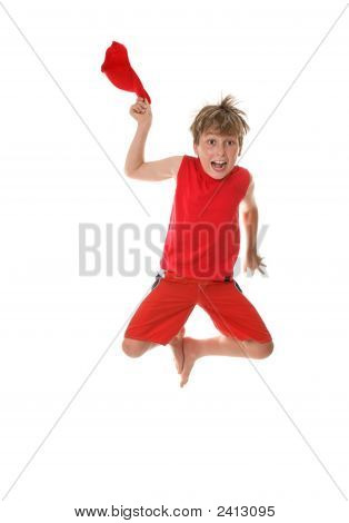 Boy With Zest For Life Leaping