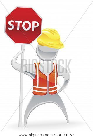 Stop Sign Metallic Man Concept