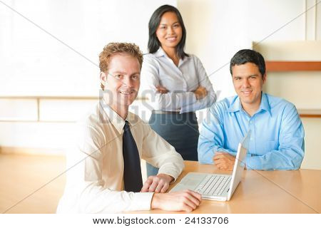 Caucasian Man Leads Business Meeting