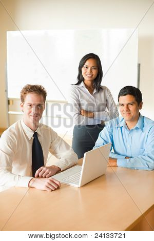 Diverse Team Business Meeting Asian Caucasian Latino