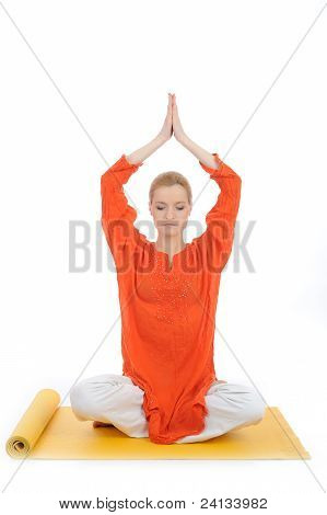 Series Or Yoga Photos. Young Meditating Woman On Yellow Pilated Mat