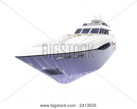 große Yacht isoliert Vorderansicht