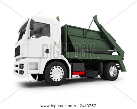 Dumpster Car Isolated Front View 02