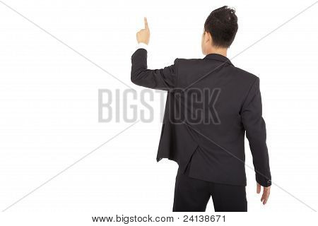 businessman back view and hand touch space isolated