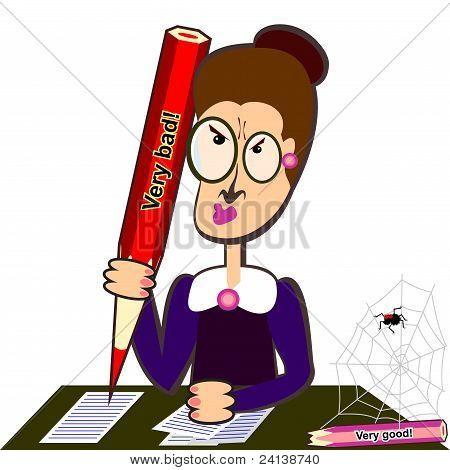 Teacher With Big Pencil