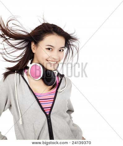 beautiful asian woman with headphones