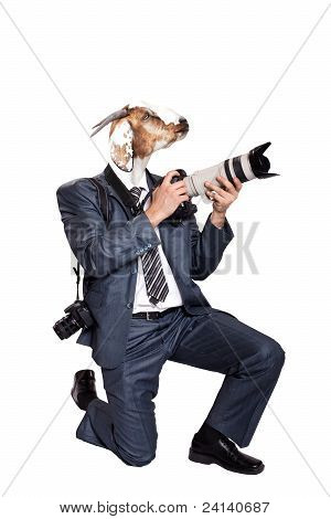 Business Photographer With Head Of Goat