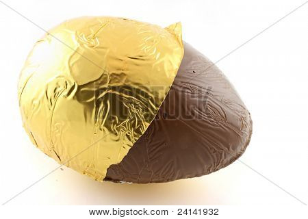 Close up of an easter egg with foil back