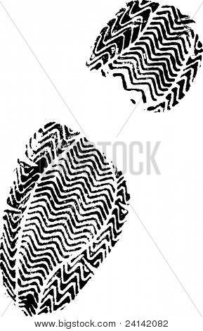Female Shoe Print White on Black hi detail vector