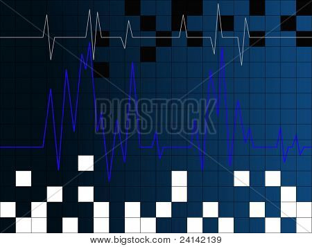 Heartbeat with blue grib and white squares