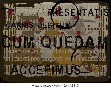 Latin Text Grunge Background with Acid Etched Numbers (Layered Vector)