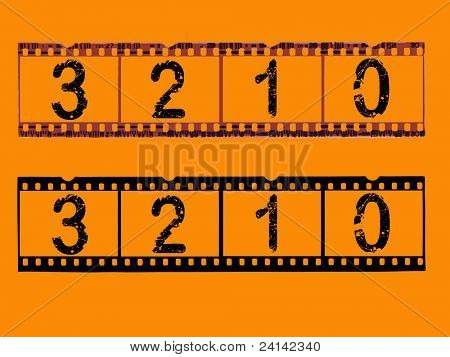 Old style film strip counting down to 0 (Transparent Vector format so they can be overlaid on other images)