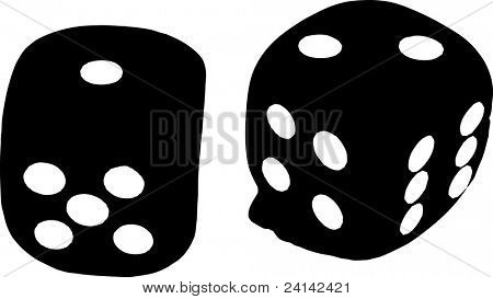2 Dice close up -  showing the numbers 1 and 2 in black and white
