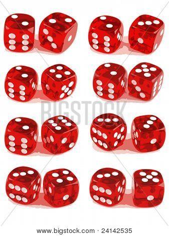 2 die Würfel zeigen alle Zahlenkombinationen (2 von 3). Datei-1id:4816705-3-Datei-Id: 4816711