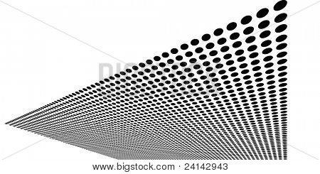 Sheet of warped black circles - transparent vector graphic element can be overlaid on other images etc