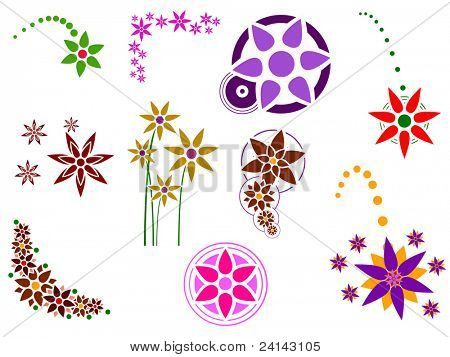 Flower Graphic Elements - 10 Separate graphic elements grouped for easy usage