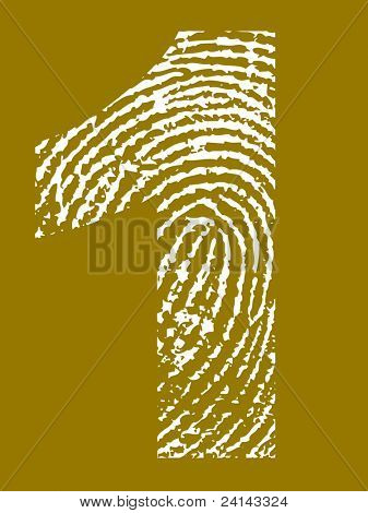 Grunge Fingerprint Alphabet - Number 1 (Highly detailed grunge letter)
