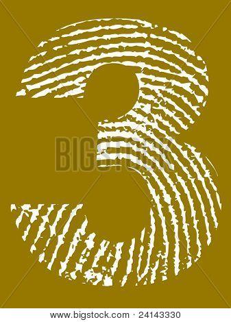Alfabeto impressão digital de grunge - número 3 (carta de grunge altamente detalhadas)