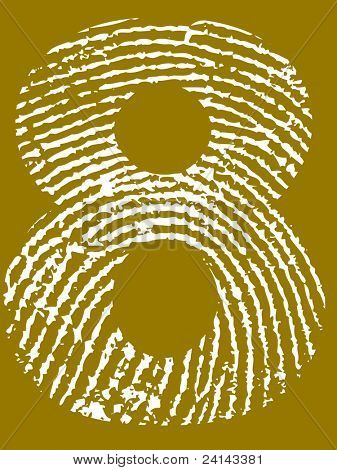 Fingerprint Number - 8 (Highly detailed grunge Number)