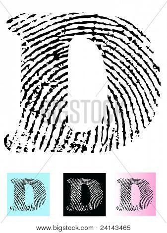 Fingerprint Alphabet Letter D (Highly detailed Letter - transparent so can be overlaid onto other graphics)