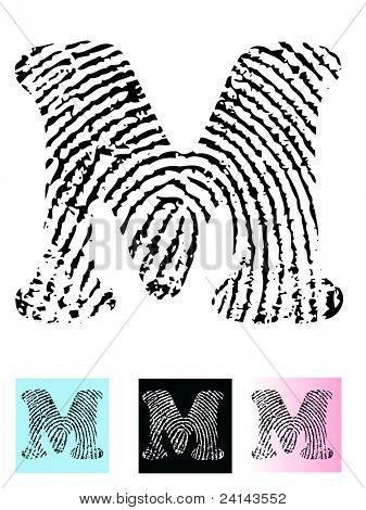 Fingerprint Alphabet Letter M (Highly detailed Letter - transparent so can be overlaid onto other graphics)
